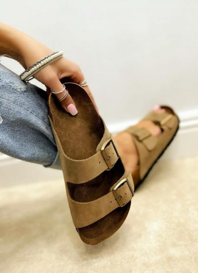 Leather slippers MANON - BEIGE