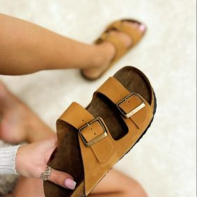 Leather slippers MANON - CAMEL