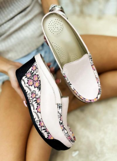 Leather slippers PAULA - POWDER ROSE