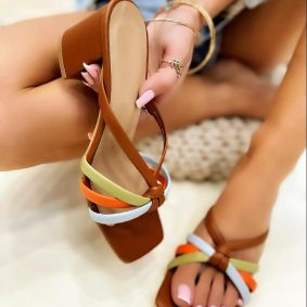 THICK HEEL MULES - CAMEL