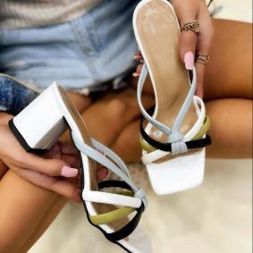 THICK HEEL MULES - WHITE