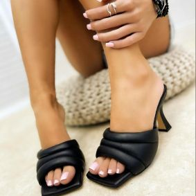 THIN HEEL MULES - BLACK