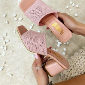 THREAD MULES WITH BLOCK HEEL - ROSE