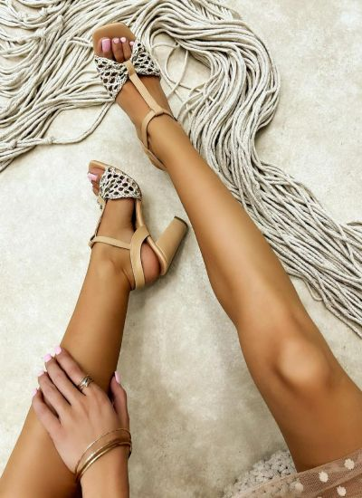 KNITTED THICK HEEL SANDALS - BEIGE