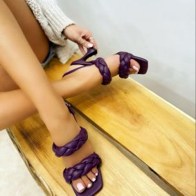 KNITTED THIN HEEL SANDALS - PURPLE