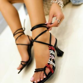 LACE UP SANDALS THIN HEEL - BLACK