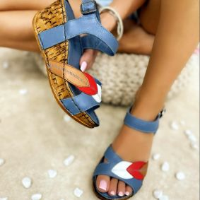 Leather sandals MARIORA - BLUE