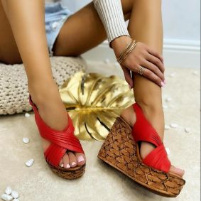 Leather sandals TEA - RED