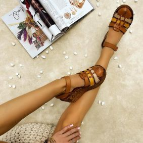 Leather sandals AIDA - CAMEL