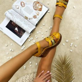 Leather sandals AIDA - OCHRE