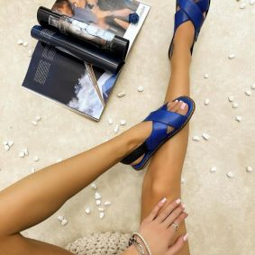 Leather sandals TERRA - BLUE