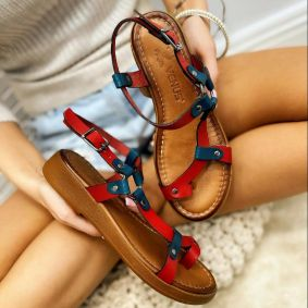 Leather sandals ANGELA - RED