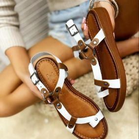 Leather sandals ANGELA - WHITE
