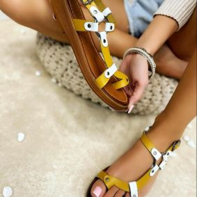 Leather sandals ANGELA - OCHRE