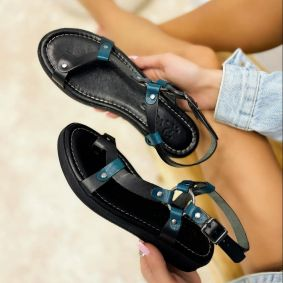 Leather sandals ANGELA - BLACK