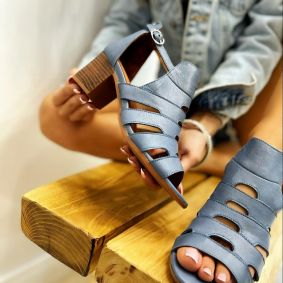 Leather sandals RIA  - BLUE