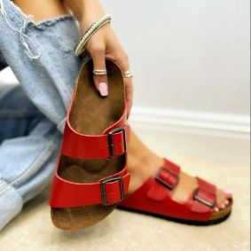 Leather slippers MANON - RED