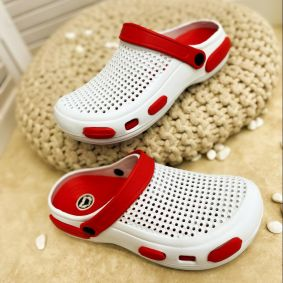 ANTISTATIC MEDICAL/ WORK/COSMETIC RUBBER CROCS - WHITE/RED