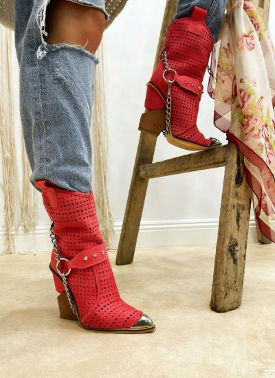 VELOUR HOLLOW ANKLE COW GIRL BOOTS WITH CHAIN - CORAL