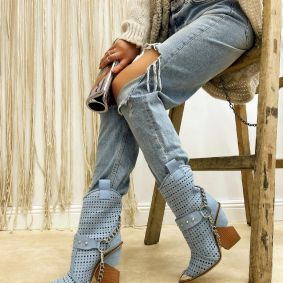 VELOUR HOLLOW ANKLE COW GIRL BOOTS WITH CHAIN - BLUE