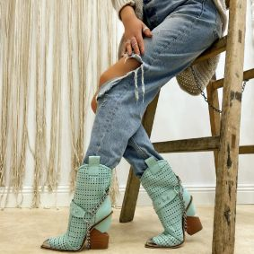 VELOUR HOLLOW ANKLE COW GIRL BOOTS WITH CHAIN - MINT
