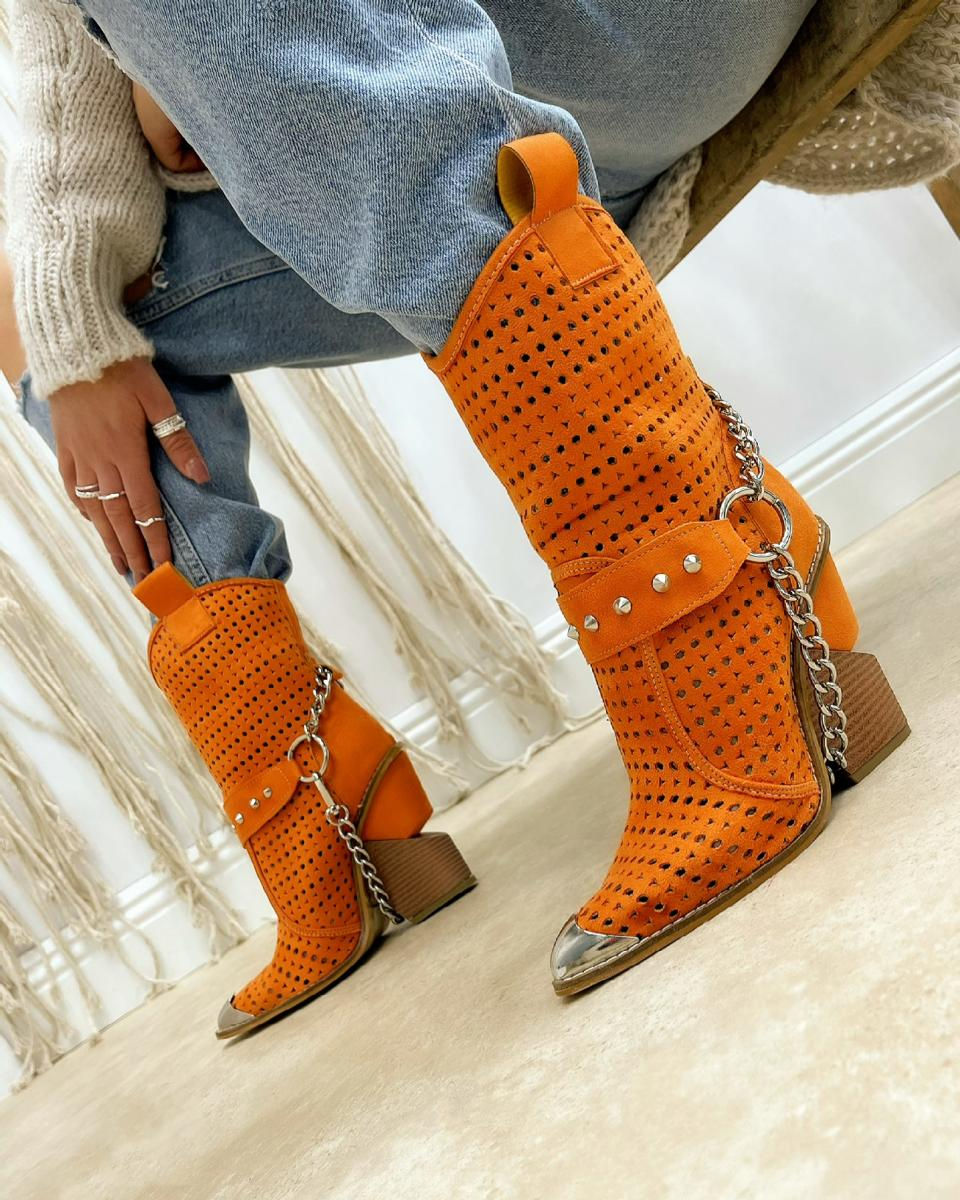 VELOUR HOLLOW ANKLE COW GIRL BOOTS WITH CHAIN - ORANGE