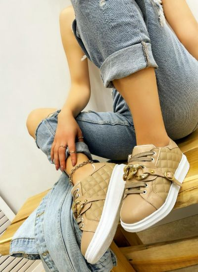 SAW SNEAKERS WITH CHAIN - BEIGE