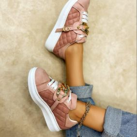 SAW SNEAKERS WITH CHAIN - ROSE