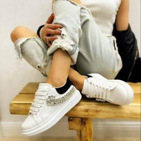 SNEAKERS WITH ZIRCONS - WHITE