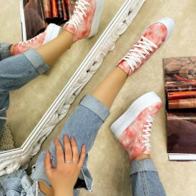 HIGH SOLE ANKLE SNEAKERS - ROSE