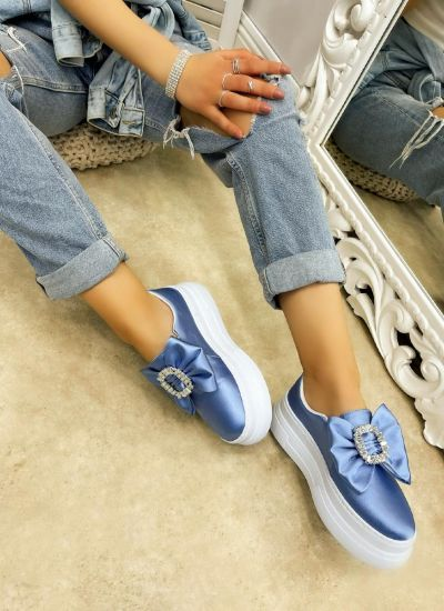 SATIN SHOES WITH HIGH SOLE AND BOW - BLUE