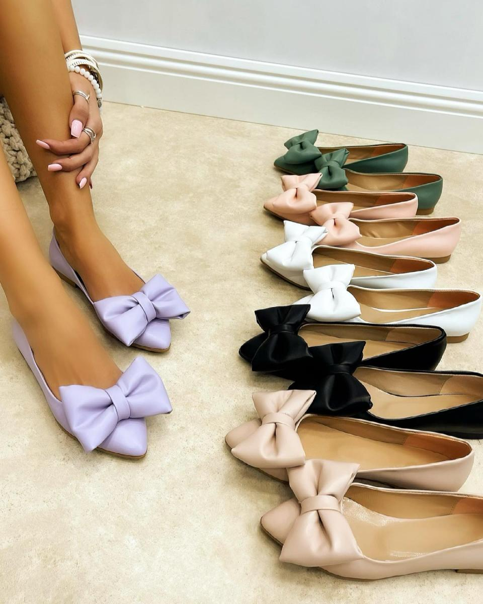 POINTED FLATS WITH BOW - PURPLE