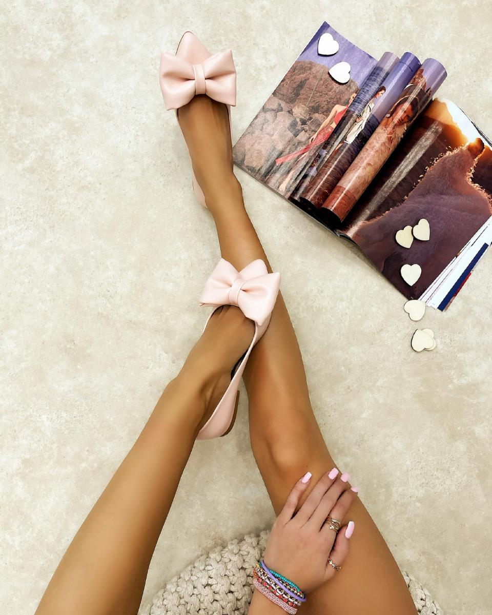 POINTED FLATS WITH BOW - POWDER ROSE