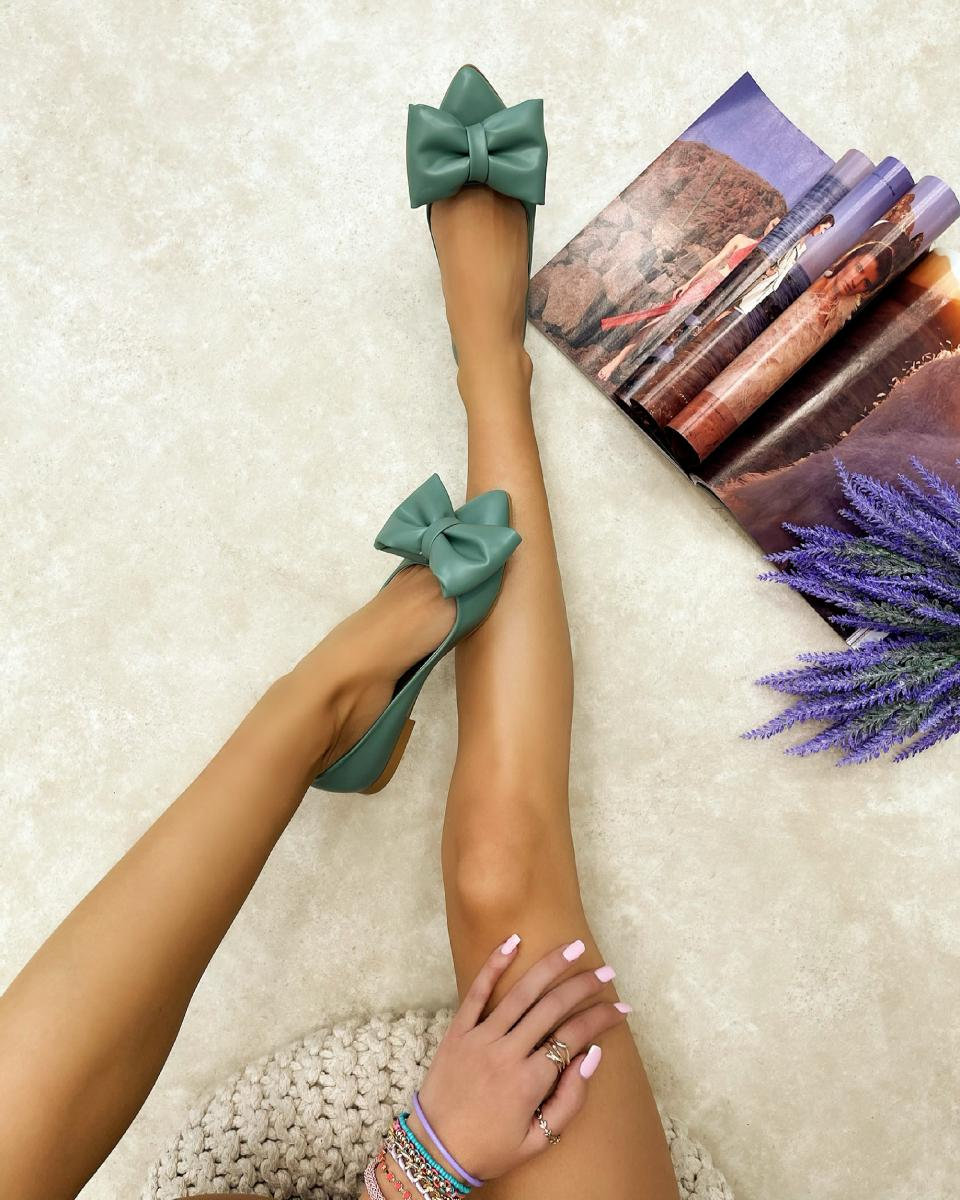 POINTED FLATS WITH BOW - GREEN