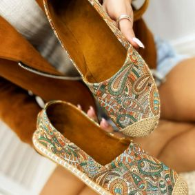 PRINTED FLATS WITH JUTA - ORANGE