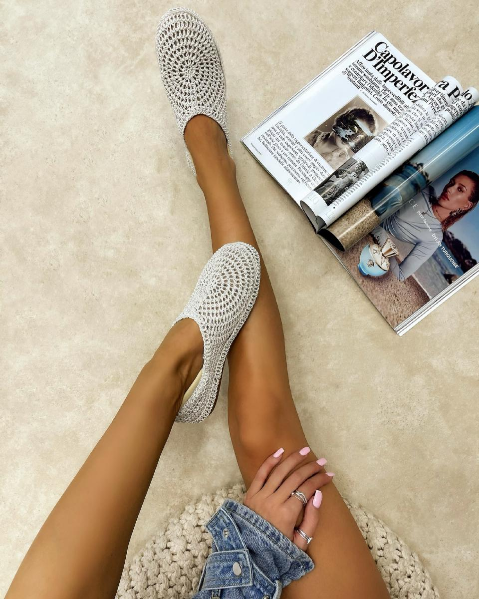 TREAD CROCHET FLATS - WHITE