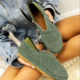 TREAD CROCHET FLATS - GREEN