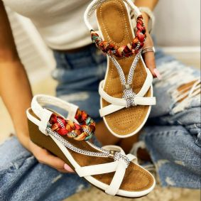 WEDGE SANDALS WITH BRAID - WHITE