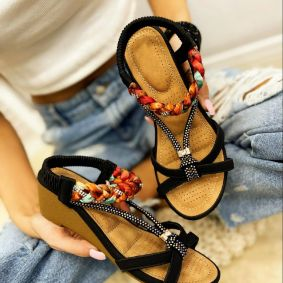 WEDGE SANDALS WITH BRAID - BLACK