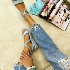 HIGH SOLE SANDALS - BLUE