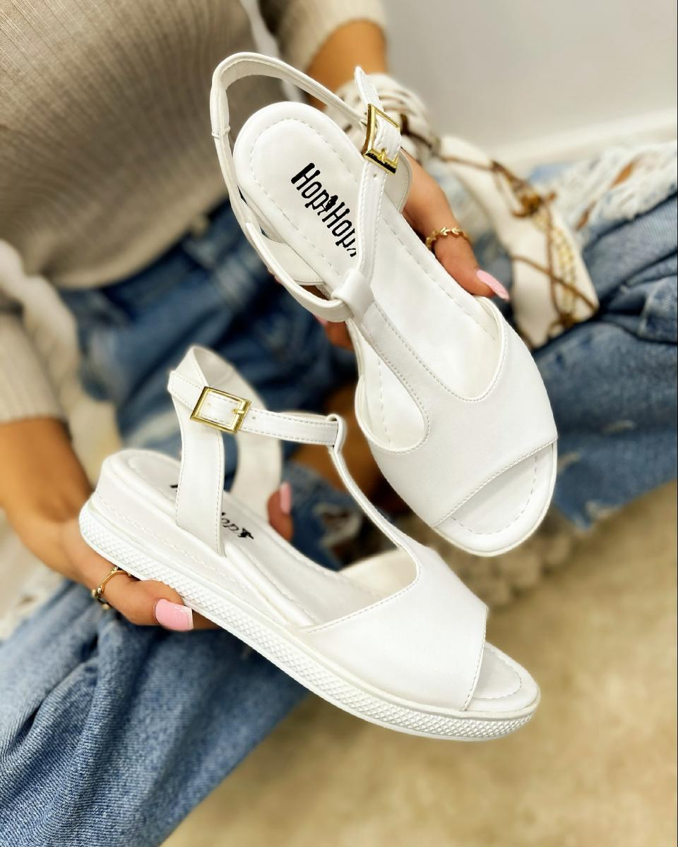 HIGH SOLE SANDALS WITH BELT - WHITE