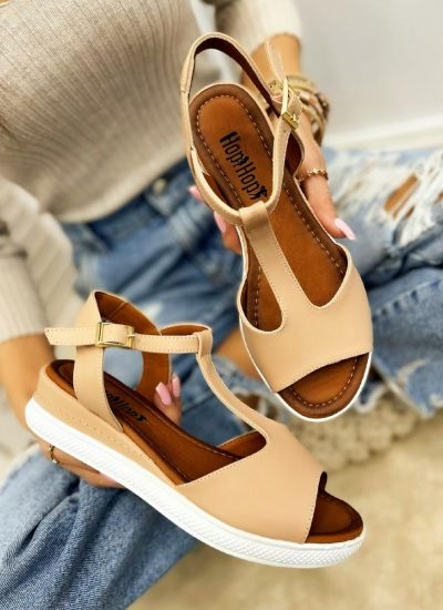 HIGH SOLE SANDALS WITH BELT - BEIGE
