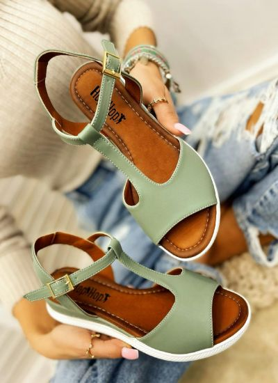 HIGH SOLE SANDALS WITH BELT - GREEN