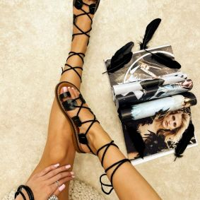 Leather sandals LEONA - BLACK