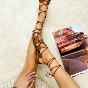 Leather sandals LEONA - CAMEL