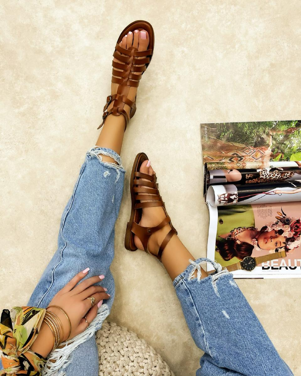 LEATHER FLAT ROMAN SANDALS WITH BELTS - CAMEL