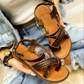 Leather sandals SALOMA - BROWN