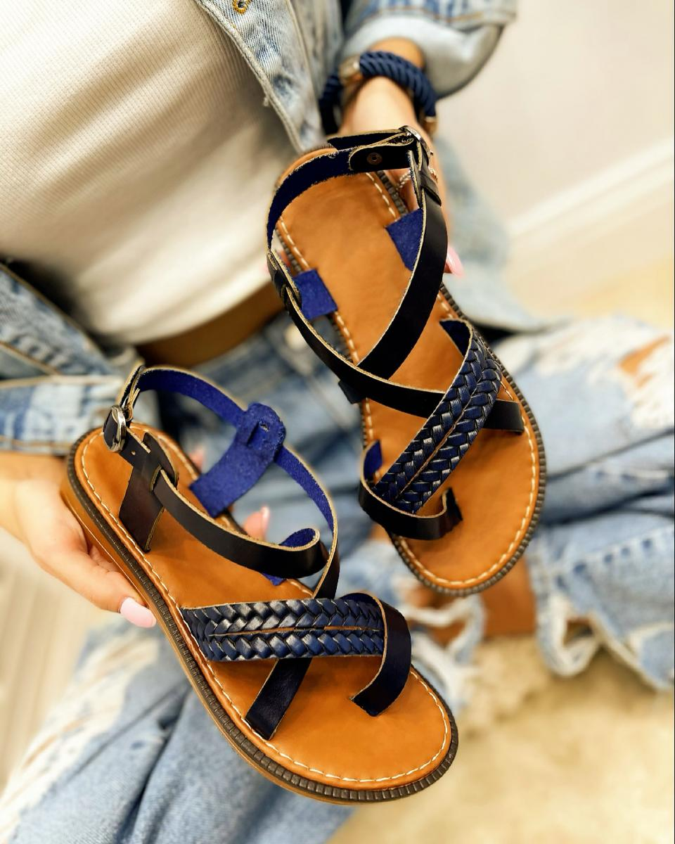 LEATHER FLAT KNITTED TOE LOOP SANDALS  - NAVY BLUE