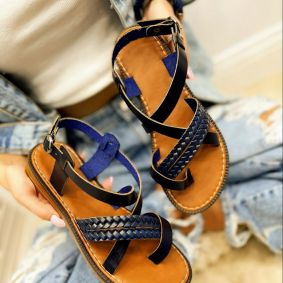 Leather sandals SALOMA - NAVY