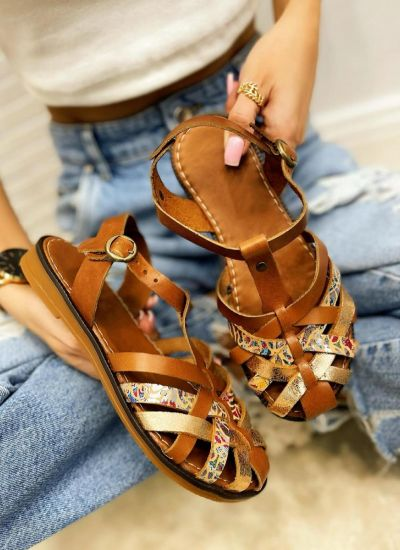 Leather sandals VEDRANA - CAMEL